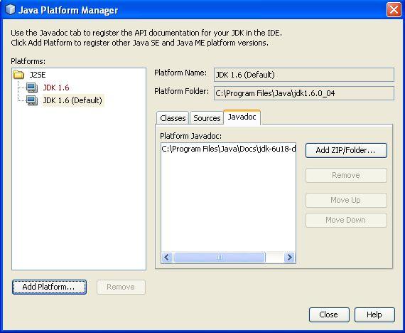 NetBeans Javadoc window